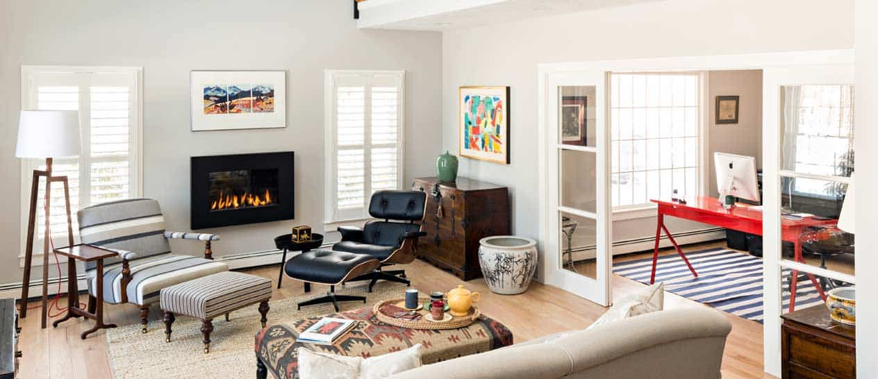 Open plan living room on Cape Cod
