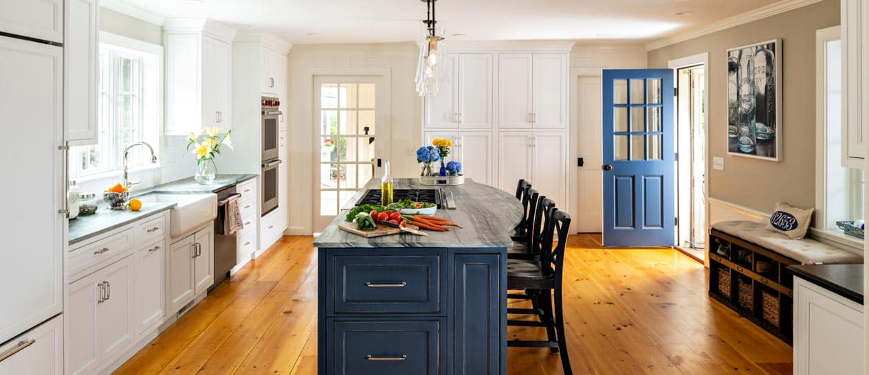 bright kitchen with vegetables on the counter